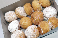 Paczki's, Donuts Dusted With Powdered Sugar and Filled. Bakers dozen of filled donuts also called Paczki's or Poonchkies Stock Photography