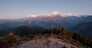 Poonhill view of Annapurnas. Warm pink and orange sunrise light over Annapurna mountain range with blue sky and beautiful clouds. Prayer flags on Poon hill in stock image