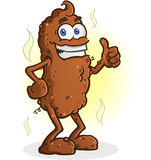 Poop Cartoon Character Standing Thumbs Up. A smelly chunk of brown poop, standing and giving an enthusiastic thumbs up Royalty Free Stock Photo