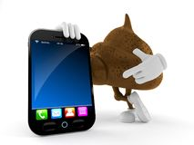 Poop character with smartphone royalty free illustration