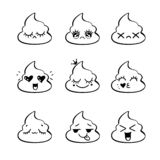 Poop emoji face icons, signs, cartoon shit. Smiling faces symbols. Vector signs. Emotional shit icons. Cute funny poop set royalty free illustration
