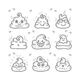 Poop emoji face icons, signs, cartoon shit. Unique hand drawn style, smiling poop faces, Vector illustration. Poop emoji face icons, signs, cartoon shit. Vector royalty free illustration