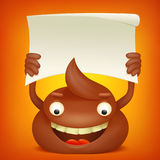 Poop emoticon cartoon character with paper banner. Vector illustration Stock Image