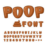 Poop font. Brown alphabet of turud. ABC shit. Set of letters fro Stock Images