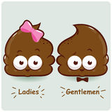 Poop toilet signs. A cute male and female public restroom toilet signs Stock Images