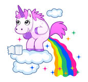 Pooping unicorn. Smiling unicorn pooping a rainbow on the sky