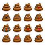 Poops Avatar Smile Emoticon Icons Set  Flat Design Vector Illustration. Poops Avatar and Smile Emoticon Icons Set  Flat Design Vector Illustration Stock Image