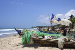 Poor African fish boats Stock Images