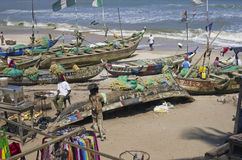 Poor African fishing boats Stock Photo