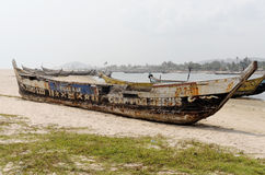 Poor African fishing boats Royalty Free Stock Image