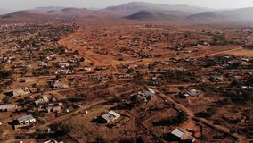Poor African Village by Air with a drone