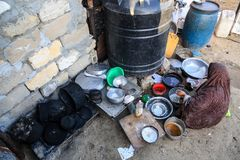 The poor within alshwaaeh areas in Gaza City. Port wash by a Palestinian woman poor live in a ruined house in Gaza City royalty free stock photos