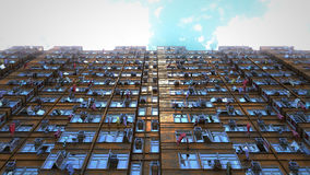 Poor apartment houses perspective view of the sky. 3d rendering, 4k Stock Photography