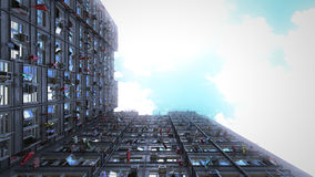 Poor apartment houses perspective view of the sky. 3d rendering, 4k Stock Photos