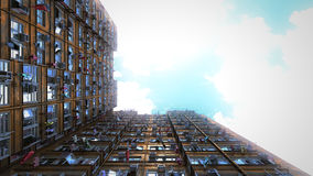 Poor apartment houses perspective view of the sky. 3d rendering, 4k Royalty Free Stock Images