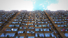 Poor apartment houses perspective view of the sky. 3d rendering, 4k Royalty Free Stock Photography