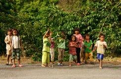 Poor Asian children, dirty, sunburst, illiterate Royalty Free Stock Photo