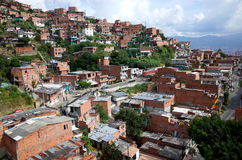 Poor barrrio in Medellin. Poor barrio in Medellin overlooking the city royalty free stock photography