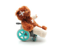 Poor bear. Shot of a teddy bear with bandages in a wheelchair royalty free stock photo