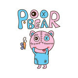 Poor bear happy isolated Royalty Free Stock Photography