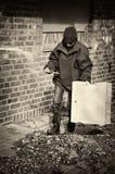 Poor Beggar Boy In A Backyard, His Home Royalty Free Stock Photos