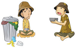 Poor beggar icon collection set Royalty Free Stock Photo