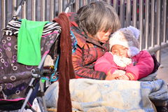 A poor beggar. It was filmed in Beijing Dongdan street, the time is December 22, 2016, Beijing fake beggars very much, this really can not determine the true and royalty free stock photography