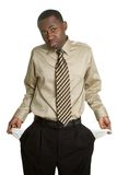 Poor Business Man. With empty pockets Stock Photos