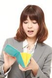 Poor businesswoman. Studio shot of young Japanese businesswoman on white background Stock Images