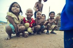 Poor cambodian kids smiling Royalty Free Stock Photography