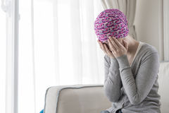 Poor cancer woman. Feel bad at home royalty free stock photography