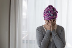 Poor cancer woman Royalty Free Stock Images