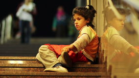 Poor child begging stock footage