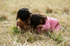 Poor child on dry grass meadow. VIET NAM, BUON ME THUOT-  DEC 31, 2012: Two Asian children with pretty face looking vegetable on dry grass meadow, poor child at Royalty Free Stock Photos