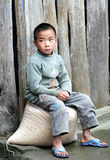 Poor child in the old village in China Stock Image