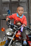Poor child in the old village in China Royalty Free Stock Images