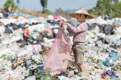 Poor children collect garbage for sale because of poverty, Junk. Recycle, Child labor, Poverty concept, World Environment Day stock photography
