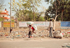 Poor children collect rubbish on the streets Royalty Free Stock Images