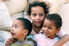 Poor children in egypt Stock Images