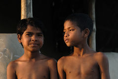 Poor Children in India. March 01,2012 Taldi,West Bengal,India,Asia - Portrait of the poor children in the remote village of India Royalty Free Stock Photo