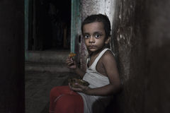 Poor children from old Godaulia city. Varanasi. India Royalty Free Stock Images