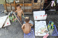 Poor children in phnom penh street cambodia Stock Photo