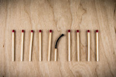 Poor choice matches. Poor choice with matches line Royalty Free Stock Image