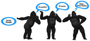 Poor Communication Skills Gorilla Illustration. Poor communication skills among the public affecting the reputation of a company Stock Photography