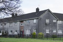 Poor council house for rent or for sale grey dark and dull. Uk stock images