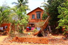 Poor country house. Auroville Stock Photo