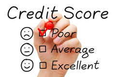 Poor Credit Score. Hand putting check mark with red marker on poor credit score evaluation form