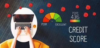 Poor Credit Score with person using a laptop Royalty Free Stock Image