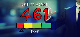 Poor credit score theme with a businessman. In an office stock photos