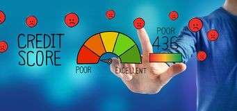 Poor credit score theme with a man royalty free stock photo